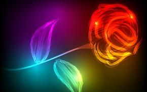 Картинка листья, роза, стилизация, лепестки, стебель, red, красная, Rose, style, светящаяся