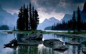 Обои озеро, горы, камни