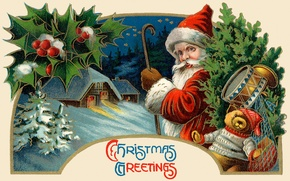 Картинка зима, игрушки, ёлка, Санта Клаус, Дед Мороз, барабан, открытка, плюшевый мишка