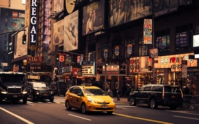 Обои taxi, shops, Lego, people, cab, cars, United States, cityscape, urban scene, New York, street, steak ...