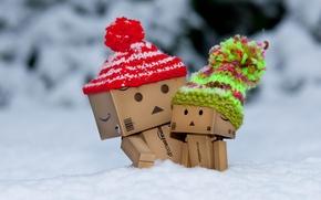 Картинка зима, снег, коробка, мороз, шапки, danbo