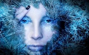 Картинка синий, лицо, Лед