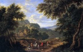 Картинка деревья, люди, картина, Адриан Франс Будевинс, Пейзаж с Путниками