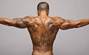 Картинка спина, рыба, загар, тату, мужчина, татуировки, мышцы, рельеф
