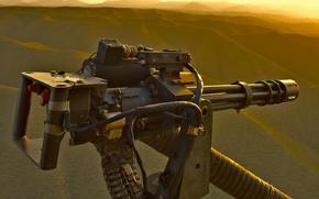 Картинка вертолет, пулемет, Гатлинга