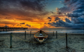 Картинка песок, море, пляж, небо, вода, солнце, пейзаж, закат, мост, природа, океан, лодка, beach, sky, sea, ...