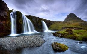 Картинка вода, горы, водопад