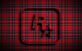 Обои Rockstar, объем, ткань, звезда, эмблема, рок, шотландка