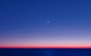 Обои Плеяды, Альдебаран, сумерки, Юпитер, океан, Венера