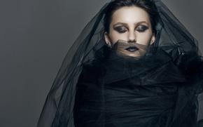 Картинка девушка, стиль, модель, макияж, тюль, чёрная вдова