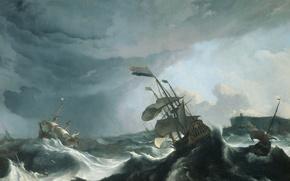 Картинка картина, морской пейзаж, Людольф Бакхёйзен