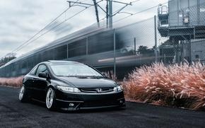 Картинка Honda, black, civic, stance, frontside