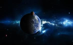 Обои спустники, планета, звезды, космос
