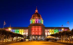 Обои флаг, радуга, подсветка, сша, сан-франциско, деревья, цвет, огни, вечер, ночь, san francisco, небо, мэрия