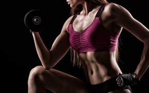 Картинка female, workout, fitness, dumbbells, sportswear
