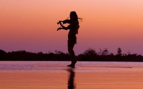 Картинка девушка, скрипка, ночт