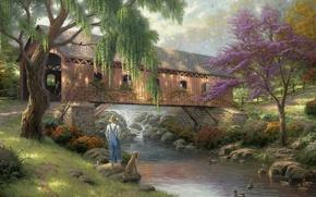 Картинка мост, природа, река, рыбалка, утки, собака, рыбак, живопись, river, nature, bridge, art, Томас Кинкейд, painting, …