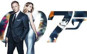 Картинка постер, 007: СПЕКТР, SPECTRE, в черном, агент, платье, пистолет, фон, Lea Seydoux, блондинка, Леа Сейду, ...