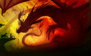 Обои дракон, люди, кони