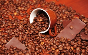 Обои зерна, вкусно, кофе, шоколад, чашка