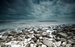 Картинка море, пейзаж, тучи, шторм, камни, буря, landscape
