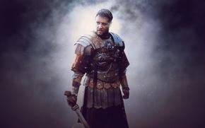 Обои Gladiator, Rome, Maximus, Russell Crowe, General, Movie, Ridley Scott's Film, Maximus Decimus Meridius, General of ...