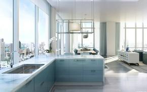 Картинка дизайн, стиль, интерьер, мегаполис, жилое пространство