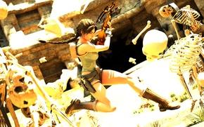 Картинка Tomb Raider, Lara Croft, арбалет, crossbow, Skeleton