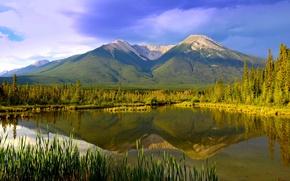 Картинка горы, озеро, отражение, Канада, панорама, Альберта, Banff National Park, Alberta, Canada, Банф, Национальный парк Банф, …