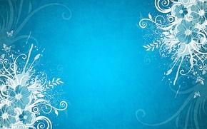 Картинка бабочки, цветы, голубой фон
