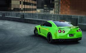 Картинка зеленый, парковка, спорткар, r35, nissan gtr