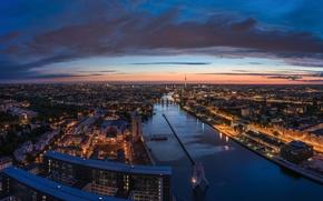 Картинка tower, river, Germany, sunset, evening, Berlin