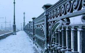 Картинка зима, мост, город, мороз, Санкт-Петербург, bridge, winter, St.Petersburg, Троицкий