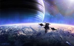 Обои Planets, Звезды, Space, Stars, Spacecrafts, Earth, Космический Корабль, Meteoroids, Планеты