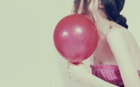 Картинка девушка, фон, розовый, обои, настроения, платье, брюнетка, полноэкранные, HD wallpapers, щар, щарик