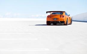 Картинка небо, оранжевый, парковка, Nissan, GT-R, ниссан, rear, orange, R35