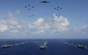 Картинка корабли, самолеты, вертолет, авианосец, B-2, бомбардировщик, ВВС США, ВМС США