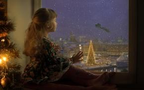 Картинка праздник, окно, девочка, ожидание