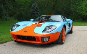 Картинка Ford, Orange, Blue, Forest, GT