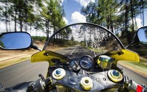 Картинка дорога, скорость, мотоцикл