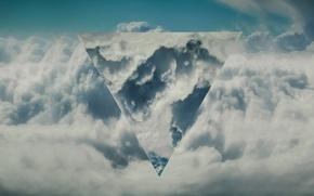 Картинка небо, облака, абстракция, символ, треугольник