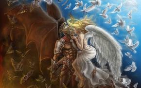 Картинка крылья, поцелуй, Ангел, демон, голуби, рога, летучие мыши, нимб
