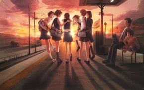 Картинка машина, небо, облака, закат, скамейка, девушки, столбы, провода, аниме, мальчик, знаки, арт, фотоаппарат, мужчина, сумка, …