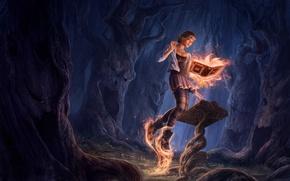 Картинка лес, магия, Девушка, книга, заклинание