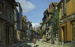 Картинка улица, дома, картина, городской пейзаж, Клод Моне, The Street of Bavolle at Honfleur