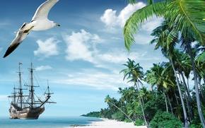 Картинка песок, море, пляж, тропики, пальмы, берег, корабль, остров, summer, beach, sea, ocean, paradise, vacation, palms, …
