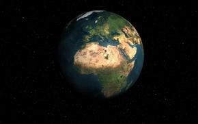 Картинка космос, планета земля, в звёздной системе