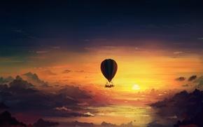 Картинка небо, облака, закат, art, romantically apocalyptic, alexiuss, apocalypse, Hot air balloon