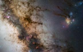 Обои stars, галактика, galaxy, Milky Way, Млечный путь, NGC 6334, NGC 6357, звезды