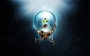 Картинка листья, росток, шар, робот, desktopography, рендер, hq wallpaper